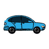 Drawing blue car coupe parking lot Stock Images
