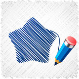 Drawing blue five-star. Royalty Free Stock Image