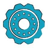Drawing blue gear wheel engine cog icon Stock Photos