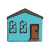Drawing blue house private residence structure Stock Photos