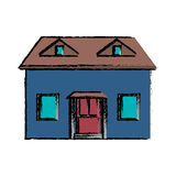 Drawing blue house red door simple. Vector illustration eps 10 Royalty Free Stock Photos
