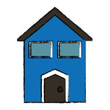 Drawing blue house windows Royalty Free Stock Image