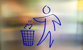 Drawing, blue icon of a person throwing trash, garbage. stock illustration