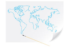 Drawing blue map. With brush on the white paper Stock Photography