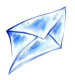 Drawing of blue paper envelope Royalty Free Stock Photo