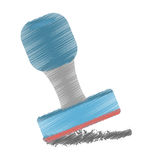 drawing blue rubber stamping supplies Stock Images