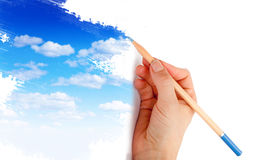 Drawing a blue sky Stock Photo