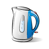 Drawing of the blue teapot kettle Stock Photo