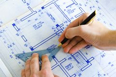 Drawing a blueprint Stock Photo