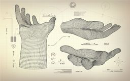 All wireframe hand Royalty Free Stock Photos