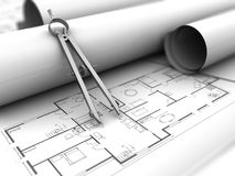 Drawing blueprints. 3d illustration of house blueprints and drawing compass Royalty Free Stock Photography