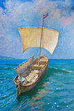Drawing of boat, painting. Drawing of boat is under sail, painting Royalty Free Stock Photo