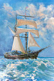 Drawing of boat, painting. Drawing of boat is under sail, painting Stock Photography