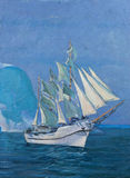 Drawing of boat is under sail, painting. Drawing of boat is under sail, fragment of painting Stock Photo