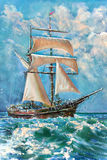 Drawing of boat is under sail, painting. Fragment Stock Image