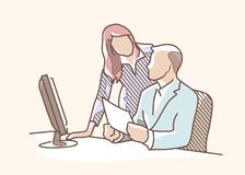 Drawing boss office 1 Royalty Free Stock Image