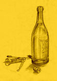 Drawing Bottle and Corkscrew. Hand drawing picture with the bottle and Corkscrew Royalty Free Stock Images
