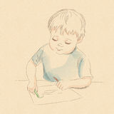 Drawing_boy 免版税图库摄影