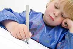 Drawing boy Stock Image