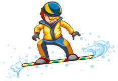 A drawing of a boy engaging in a wintersport activity Stock Photos