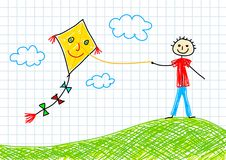 Drawing of boy with kite Stock Photos