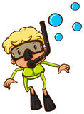 A drawing of a boy snorkeling Royalty Free Stock Photos