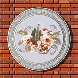 Drawing on a brick wall in the frame 36. Graphic illustration of picture with flowers (roses in the basket) in a frame on the background of a brick wall Royalty Free Stock Photos