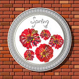 Drawing on a brick wall in the frame 16. Graphic illustration of picture with flowers (zinnia) in a frame on the background of a brick wall.  Suitable for Royalty Free Stock Images