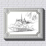 Drawing on a brick wall in the frame 41 Royalty Free Stock Photo