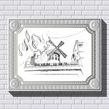 Drawing on a brick wall in the frame 43. Graphic illustration of picture with Paris (France) in a frame on the background of a brick wall.  Suitable for Stock Image