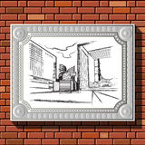 Drawing on a brick wall in the frame 54. Graphic illustration of picture with Paris (France) in a frame on the background of a brick wall.  Suitable for Royalty Free Stock Images