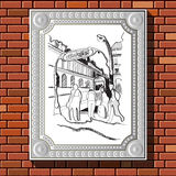 Drawing on a brick wall in the frame 52. Graphic illustration of picture with Paris (France) in a frame on the background of a brick wall.  Suitable for Stock Images