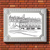 Drawing on a brick wall in the frame 56. Graphic illustration of picture with Paris (France) in a frame on the background of a brick wall. Suitable for royalty free illustration