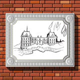 Drawing on a brick wall in the frame 48. Graphic illustration of picture with Paris (France) in a frame on the background of a brick wall.  Suitable for Royalty Free Stock Image