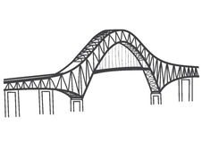 Drawing of The Bridge of the Americas, Panama Canal Stock Images