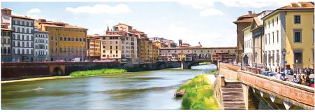 Drawing a bridge Ponte Vecchio over the Arno river in Florence. Panorama. vector illustration