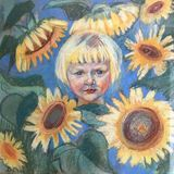 Drawing of bright sunny girl among sunflowers stock illustration