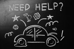 Drawing of broken car and phrase. `NEED HELP?` on chalkboard royalty free stock image