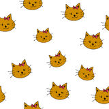 Drawing brown cats doodle with ears on white backgroung seamless Royalty Free Stock Photo