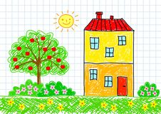 Drawing of building Royalty Free Stock Image