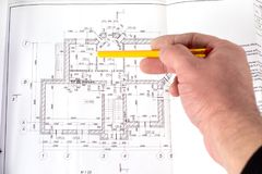 Drawing of the building. stock photos