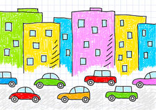 Drawing of buildings and cars Stock Image