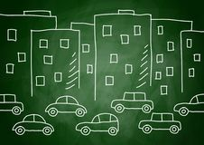 Drawing of buildings and cars Stock Photos