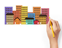 Drawing Buildings Royalty Free Stock Image