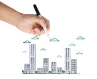 Drawing Buildings and cityscape Stock Image