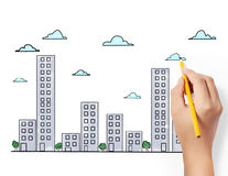 Drawing Buildings and cityscape Royalty Free Stock Photos
