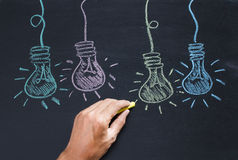 Drawing of a bulb idea on black board Royalty Free Stock Photography