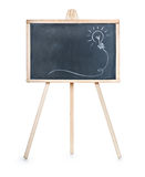 Drawing of a bulb idea on black board Royalty Free Stock Photo