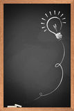 Drawing of a bulb idea on blackboard Royalty Free Stock Photography