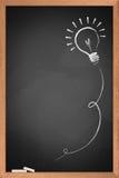 Drawing of a bulb idea on blackboard. Drawing of a bulb idea on black board royalty free stock photography